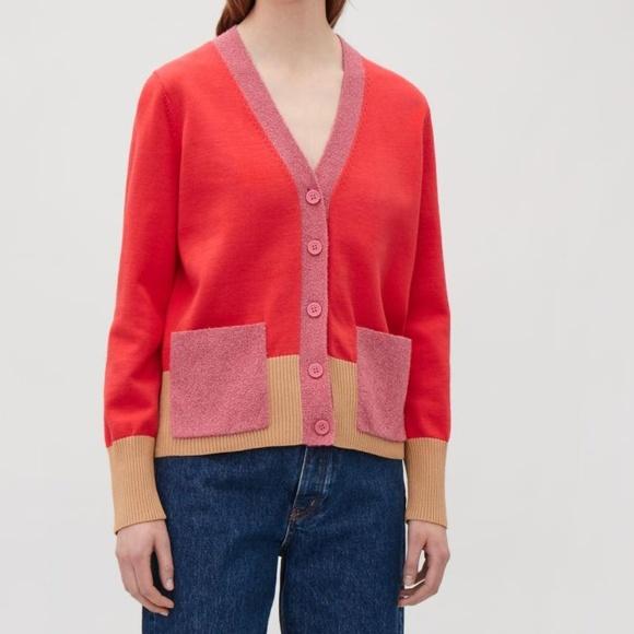 COS Color Block Cardigan Small NWT